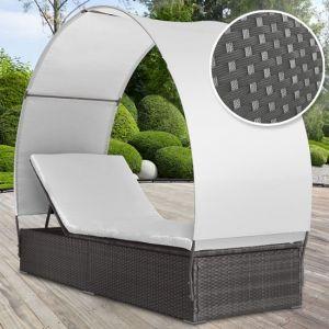 Miadomodo RTLS03 - Chaise longue en rotin avec pare-soleil