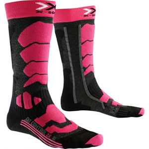 X-Socks Control 2.0 Lady Chaussettes de Ski Femme, Anthracite/Fuchsia, FR : M (Taille Fabricant : 37-38)