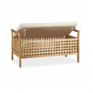 Banc de rangement en bois de noyer banquette assise coffre de rangement meuble à chaussure avec coussin 92,6 cm - HELLOSHOP26