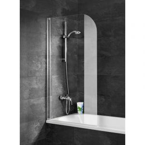 Schulte-ufer Pare-baignoire Capri sans perçage paroi de baignoire avec kit à coller écran de baignoire 1 volet 80 x 140 cm profilé aspect chromé verre transparent Schulte