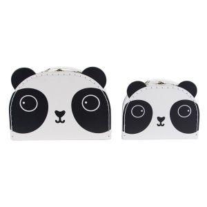 Sass & Belle Set de 2 Valisettes Déco Aiko Panda Kawaii