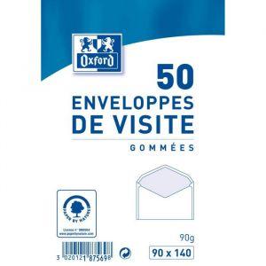 Oxford 50 Enveloppes de visité gommées - 14 cm x 9 cm x 2 cm - Gris
