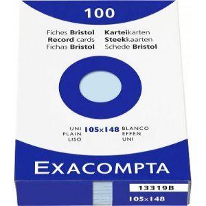 Exacompta Étui de 100 fiches azur bristol uni non perforé 105x148mm,
