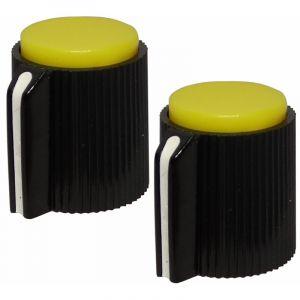Aerzetix 2 boutons de potentiomètre pour axe lisse 6.35mm Ø13x15mm noir/jaune en plastique