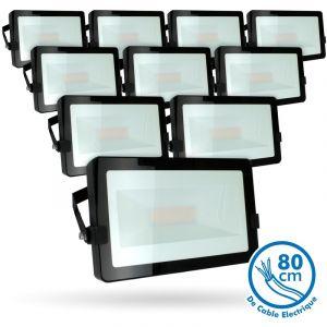 Eclairage design Lot de 10 Projecteurs LED 50W Noir Extérieur IP65   blanc-chaud-2700k