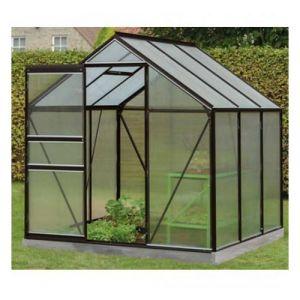 ACD Serre de jardin en polycarbonate Daisy - 3,8m², Couleur Vert, Base Sans base, Filet ombrage oui, Descente d'eau 2 - longueur : 1m95