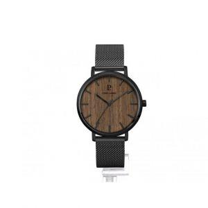 Pierre Lannier Montre 241D388 - Boîtier acier noir poli verre sérigraphié noir cadran bois brun index noir Homme