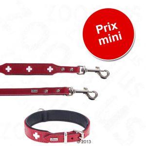 Hunter Lot Swiss : collier + laisse en cuir pour chien - lot collier taille 65 + laisse L 200 cm