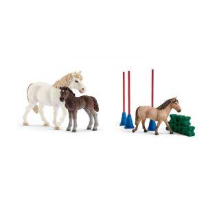 Schleich Figurines de chevaux poney ponette, poulain) avec slalom pour poney