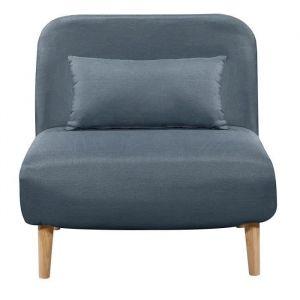 BEDZ Banquette BZ 1 place Tissu bleu acier Style scandinave L 85 x P 90 cm