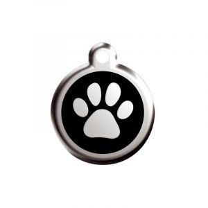 RedDingo Médaille en acier inoxydable pour chien 20 mm Patte sur fond noir