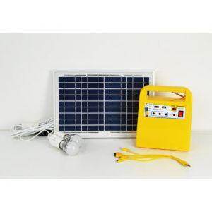 Galix Kit d'éclairage à énergie solaire - Avec fonction radio, lecteur MP3 et chargeur port USB - Lampe Ø 4,8 cm - Panneau solaire de 10 W 18V - 2 ampoules E27 - 2 ports USB 5V 1A - Fonction radio et lecteur MP3