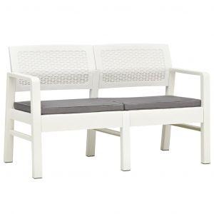 VidaXL Banc de jardin à 2 places et coussins 120 cm Plastique Blanc
