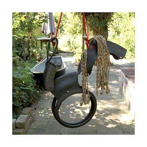 Esschert design Balançoire Cheval en pneu recyclé