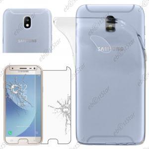 EbestStar Pour Samsung Galaxy J3 2017 SM-J330F - Housse Coque Silicone Gel Souple ULTRA FINE INVISIBLE + Film protection écran en VERRE Trempé, Couleur Transparent [Dimensions PRECISES de votre appareil : 143.2 x 70.3 x 7.9 mm, écran 5''] [Note Importan