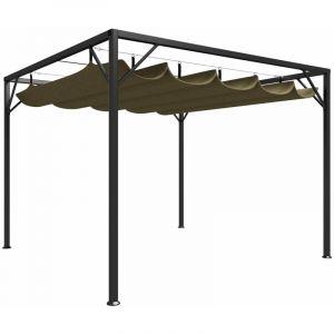 VidaXL Chapiteau de jardin avec auvent rétractable 3x3m Taupe 180 g/m²