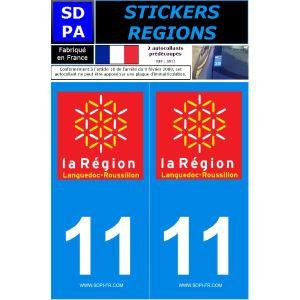 """SDPA SR11 - 2 autocollants pour plaque d'immatriculation """"Département 11 - la Région Languedoc-Roussilon"""""""