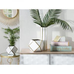 Beliani Vase blanc en céramique ESTELLA