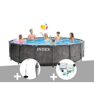 Intex Kit piscine tubulaire Baltik ronde 5,49 x 1,22 m + Douche solaire + Kit de traitement au chlore