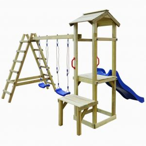 VidaXL Aire de jeu avec toboggan échelles balançoires Pinède FSC
