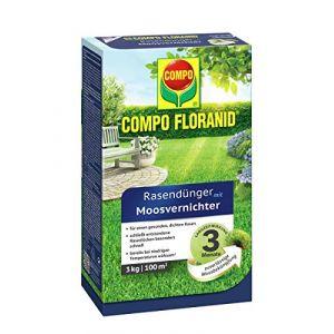 Compo Fertilisant pour gazon 13426 Floranid, avec destructeur de mousse, 12 kg pour 400 m² 3 kg