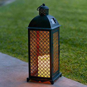 Lights4Fun Lot de 2 x Lanternes Solaires Marocaines en Métal avec Bougie LED pour Jardin par