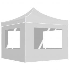 VidaXL Tente de réception pliable avec parois Aluminium 3x3 m Blanc