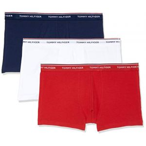 Tommy Hilfiger 3P Trunk Boxer, Blanc (White/Tango Red/Peacoat 611), Small (Taille Fabricant: S) (Lot de 3) Homme