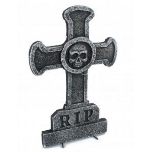 Décoration pierre tombale croix avec tête de mort (39 x 58 cm)