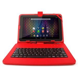 Duragadget Etui aspect cuir avec clavier intégré, port de maintien et stylet pour tablette Archos 101 Platinium, Titanium, Cobalt, Neon et Xenon