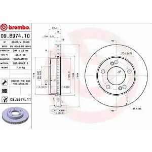 Brembo Jeu de 2 disques de frein SSANGYONG REXTON, SSANGYONG KYRON (06509.B974.11)