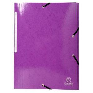 Exacompta 55826E - Chemise à élastique 3 rabats IDERAMA, pelliculée, grande capacité, coloris violet