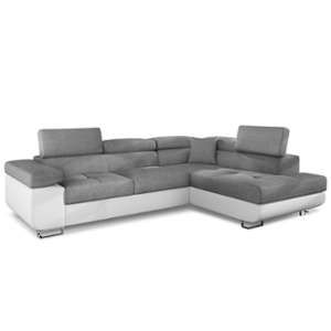 f439b61c06d Canapé d angle Antoni avec têtières relevables angle gauche simili Blanc et tissus  Gris clair