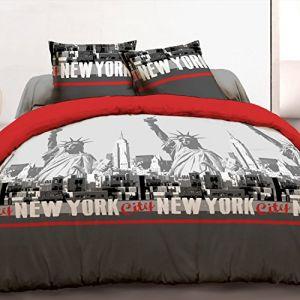 Vision New York Rouge Housse De Couette Et 2 Taies 100 Coton 57