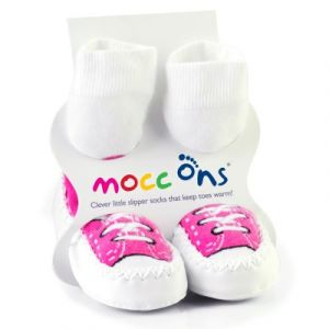 Sock Ons Chausson chaussette Mocc'ons basket rose (6-12 mois)