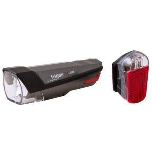 Spanninga Eclairage avant et arriere trigon rechargeable usb 25 lux couleur noir et gris