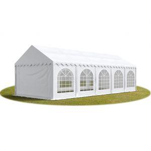 Intent24 TOOLPORT Tente Barnum de Réception 4x10 m ignifugee PREMIUM Bâches Amovibles PVC 500 g/m² blanc Cadre de Sol Jardin.FR