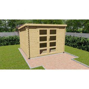 Abri de jardin bois brut FSC toit plat Surface 9,27m²