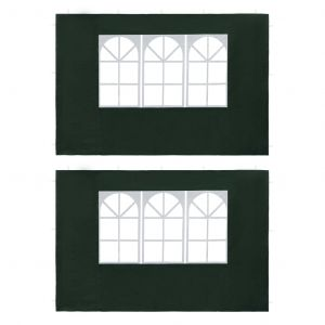 VidaXL Paroi de tente de réception 2 pcs avec fenêtre PE Vert