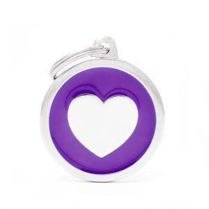 Myfamily Médaille classic grand cercle cœur violet