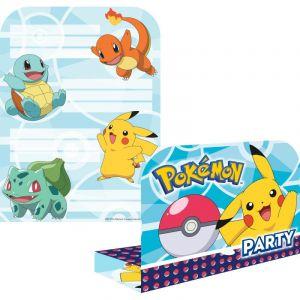 Amscan 8 Cartes invitations Pokemon avec enveloppes