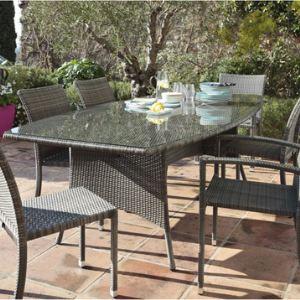 Proloisirs Table de jardin rectangulaire Lotus en résine tressée et plateau en verre 220 x 80/110 x 74 cm