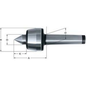 Rohm Pointe tournante n° 600, Taille : 08, MK 4, A 75,5 mm, B : 42 mm, D : 20 mm, G : 31,267 mm, K : 25 mm