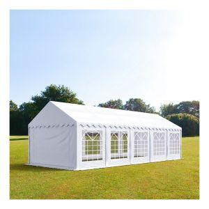 Intent24 Tente de réception 4 x 10 m PVC anti-feu blanc