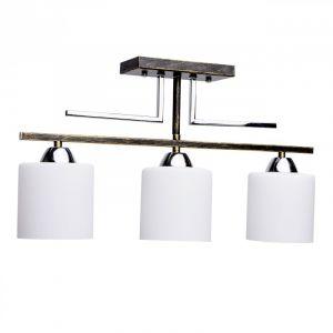 DeMarkt 673010803 Plafonnier Moderne Industriel à 3 Lampes en Métal Noir Doré et Chromé Abat jours en Verre Blanc pour Chambre Cuisine Eclairage Table 3x60W E27