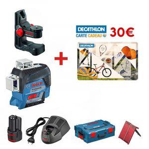 Bosch Pack Laser GLL 3-80 C Professional (BM1, Cible et L-Boxx) + Carte Cadeau Décathlon de 30