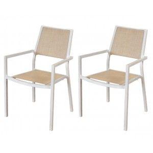 Roma - 2 fauteuils de jardin en aluminium et toile textilène
