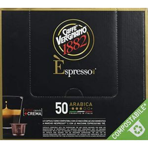 Caffe Vergnano Pack de 50 Capsules Compatibles Nespresso Espresso Arabica Caffè 7,4 g