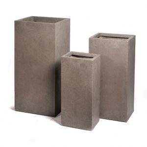 Mcollection Pot carré haut GENEVE 33x33xH.70 Taupe