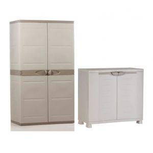 Plastiken Armoire basse de rangement et armoire de rangement haute 4 étageres
